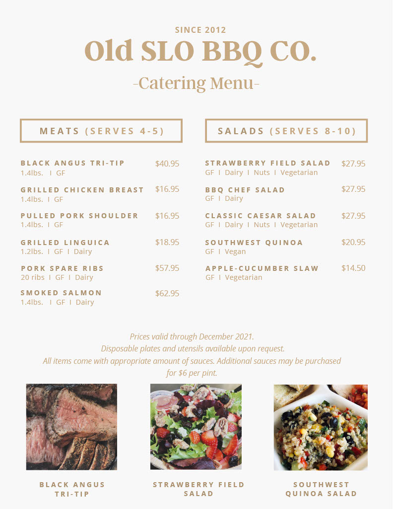 Old San Luis BBQ catering menu
